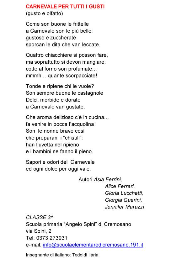 Ben noto Poesie scuola primaria di Cremosano | Carnevale di Crema MJ29