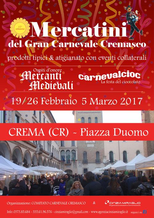 Locandina dei mercatini del carnevale cremasco 2017