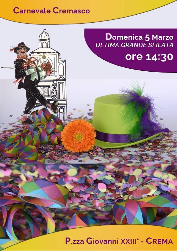 Locandina dell'ultima grande sfilata del carnevale cremasco 2017