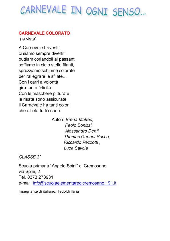 Poesie scuola primaria di cremosano carnevale di crema - Poesie primaverili per la scuola materna ...