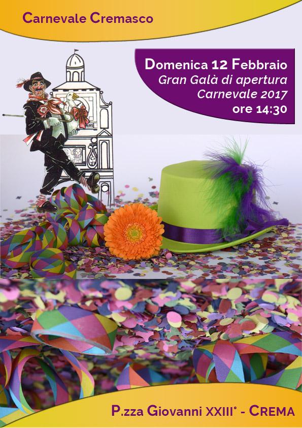 Locandina della prima giornata del carnevale cremasco 2017