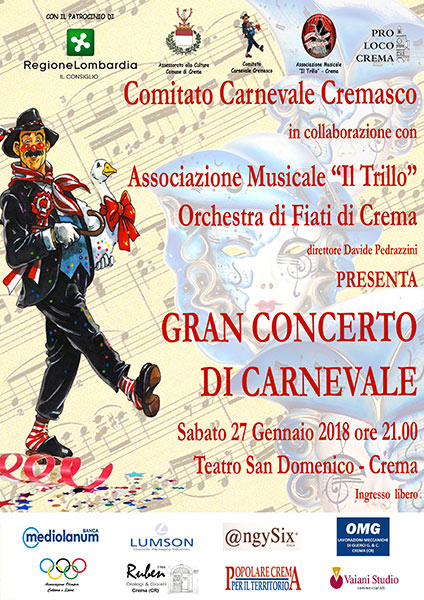 Locandina del concerto di carnevale 2017