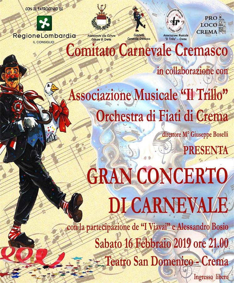 Locandina del concerto di carnevale 2019