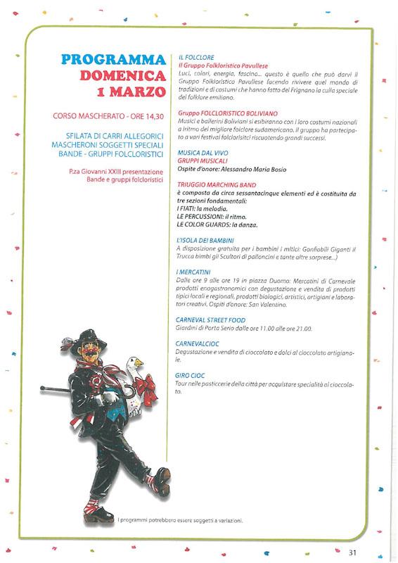 Programma quarta Domenica del Carnevale Cremasco 2019