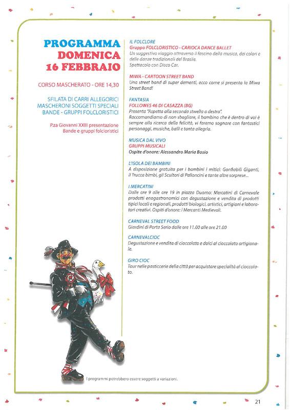 Programma seconda Domenica del Carnevale Cremasco 2019