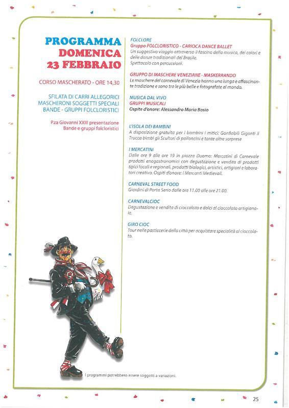 Programma terza Domenica del Carnevale Cremasco 2019