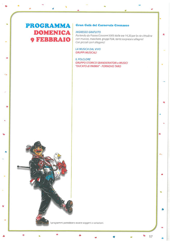 Programma prima Domenica del Carnevale Cremasco 2019