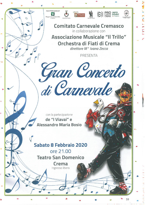 Locandina del concerto di carnevale 2020